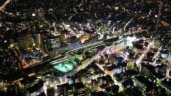 空から見た夜の東京・池袋