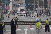 A large hole is seen in a road in Hakata Ward, Fukuoka, on Nov. 8, 2016. (Mainichi)