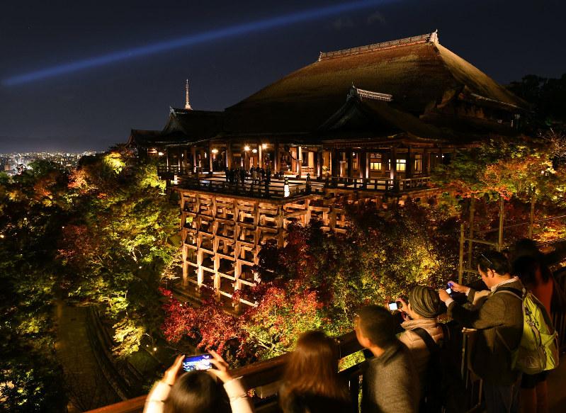 清水寺:幻想の秋色…紅葉ライト...