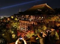 試験点灯でライトアップされた清水寺=京都市東山区で2016年11月11日、小松雄介撮影