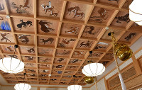 Wolf paintings adorn part of the ceiling at Yamatsumi Shrine in the village of Iitate, Fukushima Prefecture, in this Nov. 16, 2016 photo. (Mainichi)