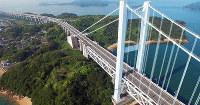 壮大さが伝わる瀬戸大橋の空撮=ドローンデパートメント提供(撮影には許可が必要な場合があります)