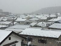 Rooftops blanketed in snow are seen in Tokyo's Setagaya Ward on Nov. 16, 2014. (Mainichi)