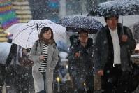 雪が降る中で通勤通学する人たち=東京都八王子市で2016年11月24日午前6時47分、宮武祐希撮影