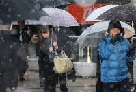 雪が降る中で通勤通学する人たち=東京都八王子市で2016年11月24日午前6時58分、宮武祐希撮影