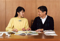 Princess Aiko talks with her father Crown Prince Naruhito about her school trip at their residence in Tokyo's Minato Ward in this file photo taken on Nov. 23, 2016. (Courtesy of the Imperial Household Agency)