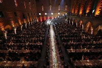 A banquet is held after the Nobel Prize ceremony in Stockholm on Dec. 10, 2016. (Pool photo)