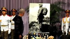 フィデル・カストロ氏の写真が飾られた祭壇=ホセ・マルティ記念館で2016年11月29日加藤美穂子撮影