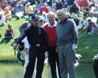 アーノルド・パーマーさん(右端)=米ジョージア州オーガスタで2009年4月8日、和田崇撮影