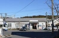 現在のJR中央線「美乃坂本駅」の玄関口=中津川市千旦林で