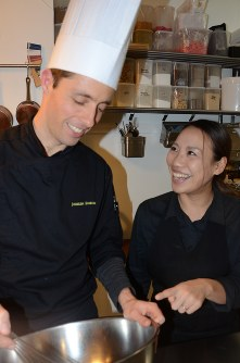 French patissier Josselin Rimbod, left, and his wife Noriko are seen at their shop