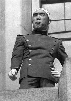 Author Yukio Mishima delivers a speech at the Ichigaya garrison of the Ground Self-Defense Force on Nov. 25, 1970.