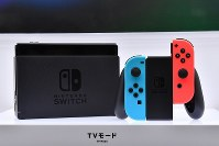 The Nintendo Switch video game console is seen at the Tokyo Big Sight event venue in Tokyo's Koto Ward on Jan. 13, 2017. (Mainichi)