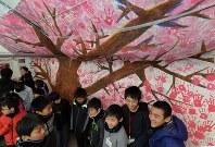 「命の一本桜」の前で言葉を交わす熊本と神戸の子供たち=神戸市中央区の東遊園地で2017年1月17日午前7時40分、加古信志撮影