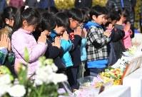 市立精道小学校で行われた阪神大震災の犠牲者の追悼式で手を合わせる児童たち=兵庫県芦屋市で2017年1月17日午前10時12分、山崎一輝撮影