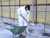 スコップを使って消石灰をまく農場関係者=岡山県提供