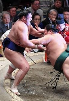 大翔丸(右)に押し出しで敗れ、12敗となった栃煌山=東京・両国国技館で2017年1月22日、竹内紀臣撮影