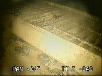 東京電力福島第1原発2号機の格納容器内に設置されている作業用の足場。さびのようなものが浮き出ている=東京電力提供