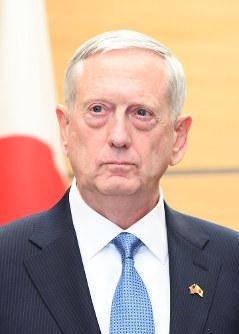 マティス米国防長官=首相官邸で17年2月3日、川田雅浩撮影