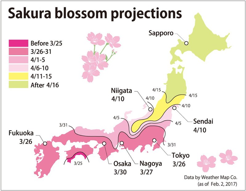 Japan Cherry Blossom Forecast Shows Early April As Best Viewing - Japan map 2017