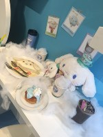 Samples of the Cinnamoroll-themed food to be added to the menu of Sanrio's character cafes for his 15th Anniversary are shown in this Feb. 4 photo taken at Sanrio Expo 2017 in Shinagawa Ward, Tokyo. (Mainichi)