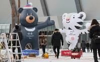 平昌五輪のスピードスケート会場の前で、開幕1年前のイベントに合わせて大会マスコットが設置されていた=韓国・平昌で2017年2月7日、佐々木順一撮影