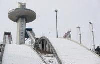 平昌五輪で使用されるジャンプ台=韓国・平昌で2017年2月7日、佐々木順一撮影