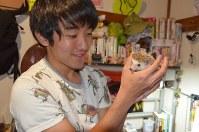 篠原祐太さんは昆虫以外にもハリネズミなどさまざまな小動物を飼っている=東京都世田谷区羽根木1で2017年1月27日午後4時59分、錦織祐一撮影