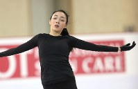 Japanese figure skater Rika Hongo is seen during a practice session ahead of the 2017 Four Continents Figure Skating Championships at Gangneung Ice Arena in Gangneung, South Korea, on Feb. 14, 2017. (Mainichi)