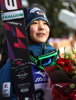 Ski jumper Sara Takanashi answers questions from reporters at Zao Jump Stadium in Yamagata on March 3, 2012, after winning the FIS Ski Jumping World Cup. (Mainichi)