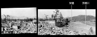 (3)パノラマ右 京橋川に架かる京橋の西詰めで北西から北を撮影。右奥に架かるのは栄橋。その奥は二葉山(爆心地から1400メートル)=1945年8月9日、広島平和記念資料館(原爆資料館検証)検証