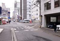 (11)毎日新聞広島支局跡周辺から南を撮影=広島市中区で2017年2月6日、山田尚弘撮影(画像の一部を加工しています)