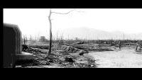 (13)パノラマ左 紙屋町交差点北から西練兵場などがあった北側の軍用地をパノラマ撮影(5枚を合成)。広島第一陸軍病院第一分院などが焼失している=1945年8月9日、広島城主任学芸員の玉置和弘氏検証