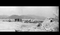 (13)パノラマ中 紙屋町交差点北から西練兵場などがあった北側の軍用地をパノラマ撮影(5枚を合成)。広島第一陸軍病院第一分院などが焼失している=1945年8月9日、広島城主任学芸員の玉置和弘氏検証