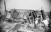 つぶれた防空壕。撮影地点は不明だが、右端に見える稜線は比治山。背後の電車通りに人影がたくさん見えることから、紙屋町交差点(現広島市中区紙屋町)付近の可能性がある=1945年8月9日、広島平和記念資料館(原爆資料館)検証