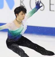 Yuzuru Hanyu, who took second place, performs in the men's free skating at the Four Continents Figure Skating Championships in Gangneung, South Korea, on Feb. 19, 2017. (Mainichi)