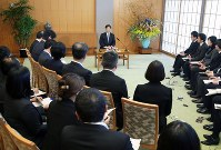 Crown Prince Naruhito speaks at a news conference at the Togu Palace on Feb. 21, 2017, prior to his 57th birthday. (Pool photo)