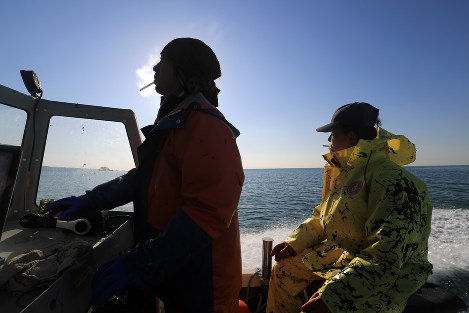 採取を終え港へ帰る内海優さん(左)と父・広則さん。のり養殖北限の地、宮城県石巻市渡波(わたのは)で津波を乗り越えた=宮城県石巻市で2016年11月30日、梅村直承撮影