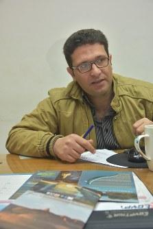 エジプト環境省でワディ・アル・ヒタンを担当するムハンマド・サーメフさん=秋山信一撮影