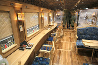 The interior of JR Kyushu's new sightseeing train