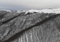 防災ヘリが墜落した長野県中部・鉢伏山付近=2017年3月5日午後5時17分、本社ヘリから