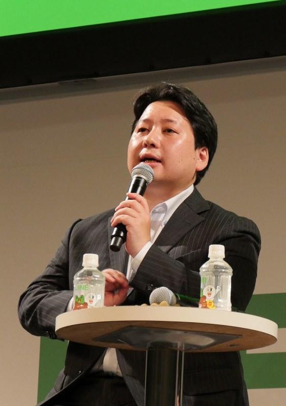 LINEの舛田淳取締役=2016年9月5日、尾村洋介撮影