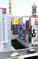 大阪・道頓堀の街並み=レゴブロックでできている