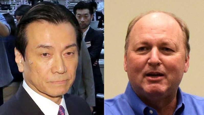 東芝の原子力事業の責任者だった志賀重範氏(左)とダニー・ロデリック氏