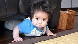 生後7カ月、うまく前に進めません=東京都中央区で関口純撮影