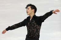 Nathan Chen of the United States skates in the men's short program at the ISU World Figure Skating Championships in Helsinki on March 30, 2017. (Mainichi)