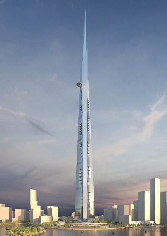 1000メートルの高さになる「ジッダ・タワー」の完成予想画=建築を担当するASGGのホームページより