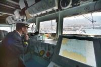護衛艦「かが」の艦橋=広島県呉市で2017年4月3日午前11時25分、山田尚弘撮影