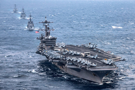 The nuclear powered aircraft carrier USS Carl Vinson is seen during joint exercises with the Japan Maritime Self-Defense Force in the East China Sea in March 2017. (Photo courtesy of the U.S. Department of Defense)