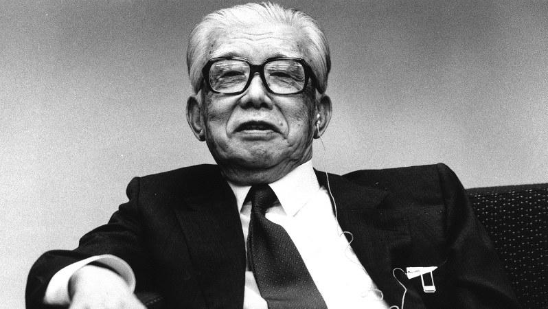 ソニー創業者で同社の設立趣意書をしたためた井深大氏=1991年12月、藤井太郎撮影